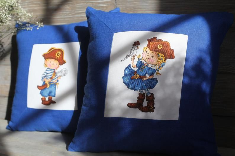 Pirate pillow embroidery set of 2 covers, Pirate child room decor throw pillow covers cute, Navy blue needlepoint cushion