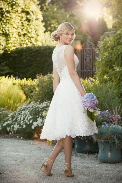 Style D2101 Knee Length Wedding Gown Idea Lace Illusion Neckline And Back Essense Of Australia Wedding Dresses Casual Wedding Dress Perfect Wedding Dress