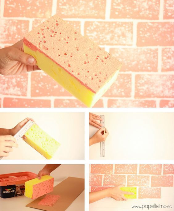 3 diy brick design from a rectangle sponge do it yourself today diy brick design from a rectangle sponge solutioingenieria Image collections