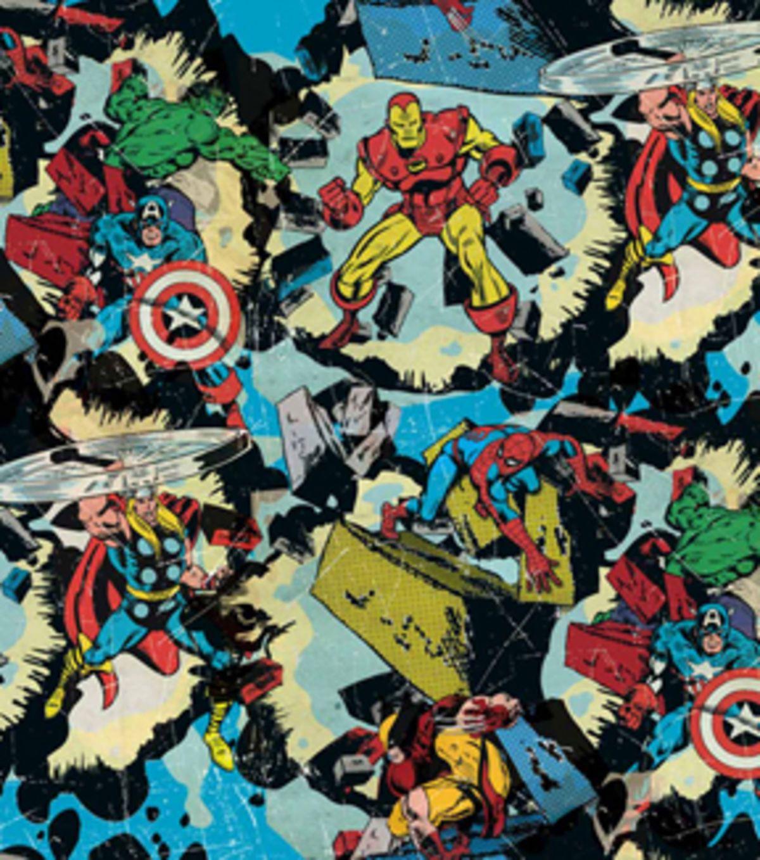 Retro Superhero Art: Marvel Comics Cotton Fabric -Retro Smashing