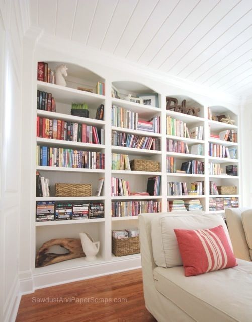 Floor Length Bookcases With Arches