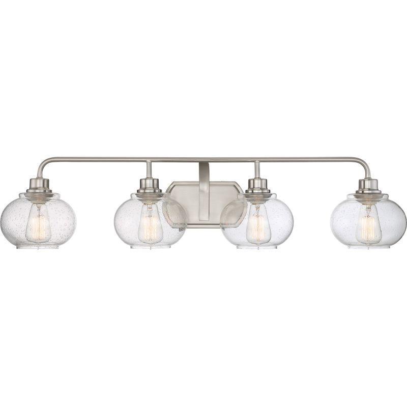 Quoizel trg8604 trilogy 4 light 37 wide bathroom vanity lights with seedy clear brushed nickel
