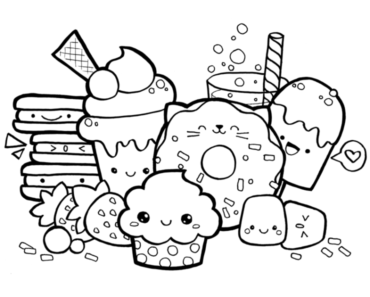 Kawaii Food Doodle Coloring Page Doodle Coloring Cute Doodle Art Cartoon Coloring Pages