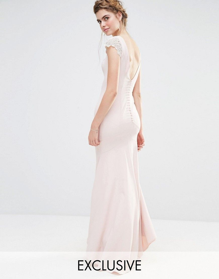 a0760014cc2 Jarlo Wedding Fishtail Maxi Dress with Lace Cap Sleeve and Button back