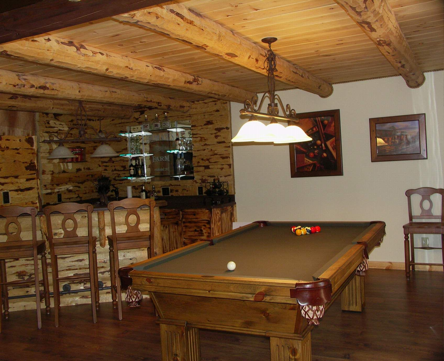 Rustic Finished Basement Ideas | Basement Bar And Game Room With Guest Suite