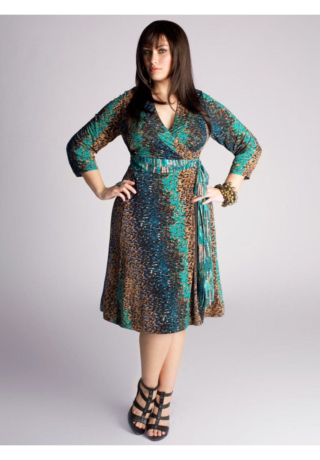 Plus Size Cheryl Wrap Dress in Teal Multi image