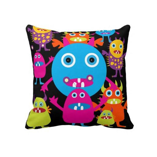 Cute Monster Pillow : Funny Monster Bash Cute Creatures Party Throw Pillow Cool Things for the Kids Pinterest
