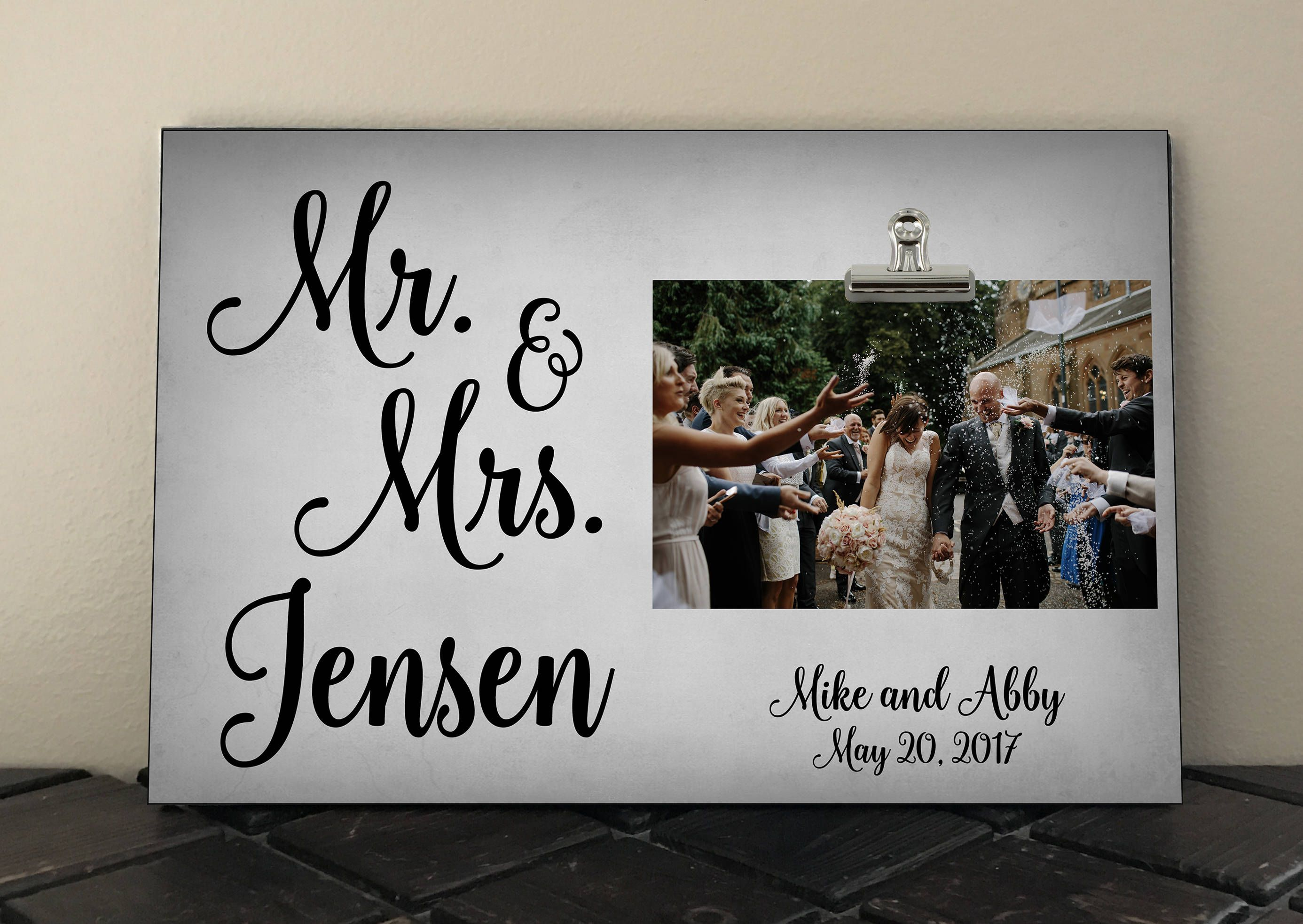MR and MRS, Personalized Frame with names and date, Wedding Gift ...