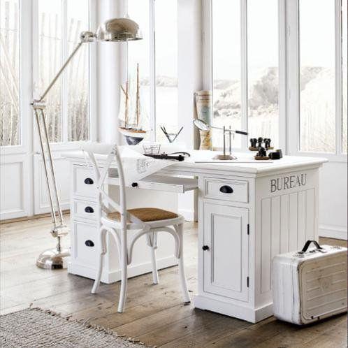 Holzschreibtisch B 150 Cm Weiss Newport Maisons Du Monde Holzschreibtisch Haus Schubladen