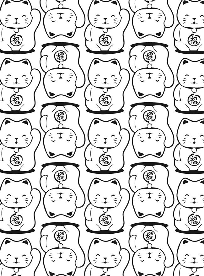 Neko Lucky Cat Coloring Pages Colouring Adult Detailed Advanced