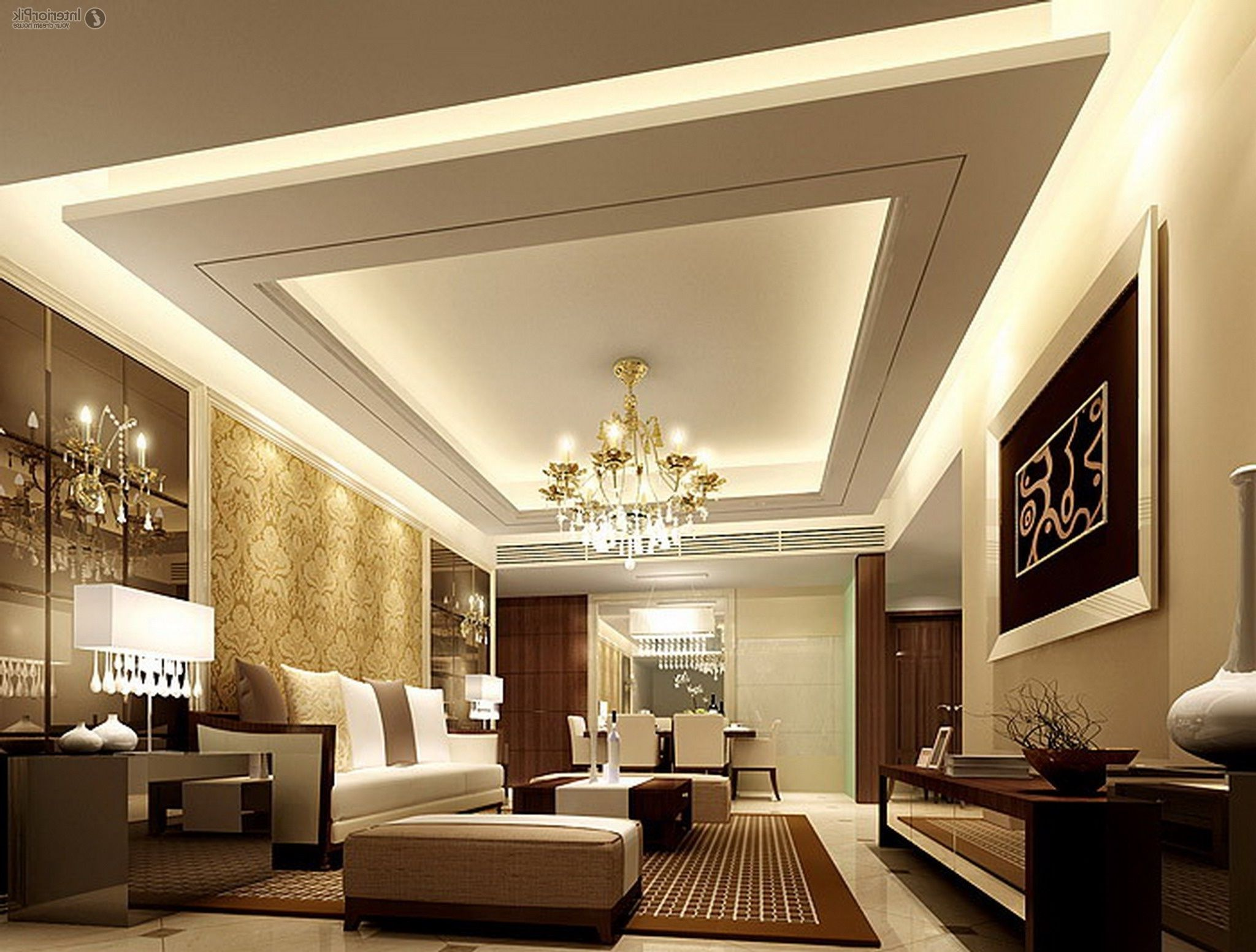 Ceiling Ideas For Living Room white yellow round pop ceiling design and traditional sofa set in living room Ceiling Designs For Your Living Room