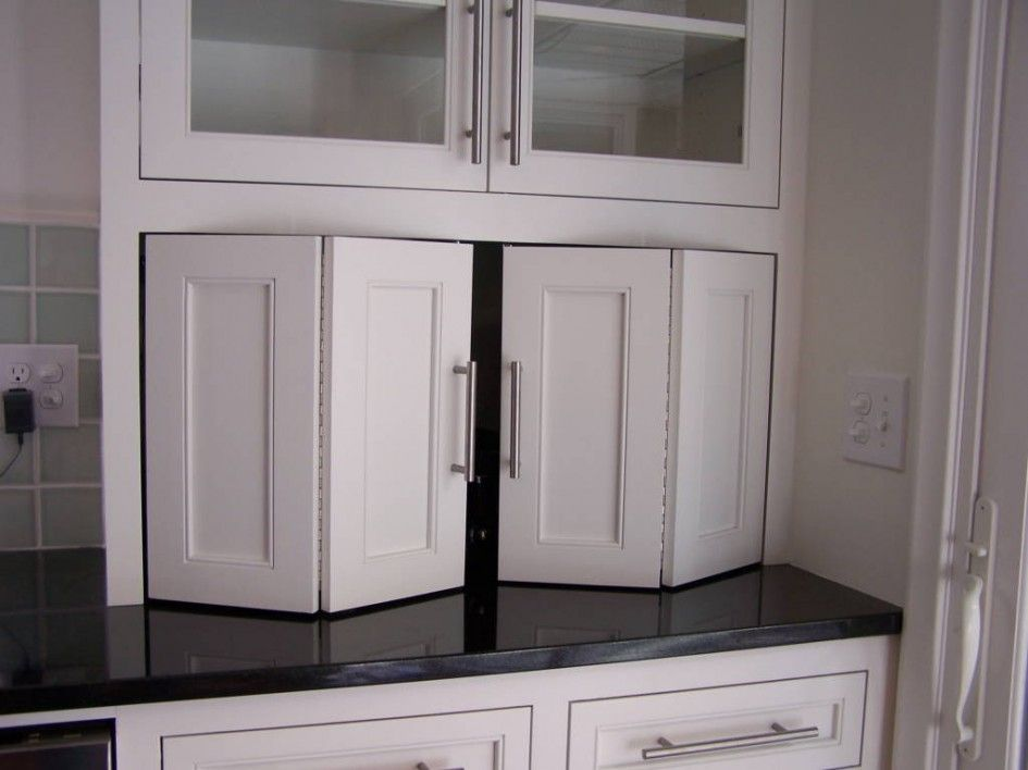 Delicieux Extraordinary Folding Cabinet Doors For White Kitchen Cabinets With Black  Countertops Also Brushed Nickel Cabinet Bar Pull From Cabinet Decor Accents