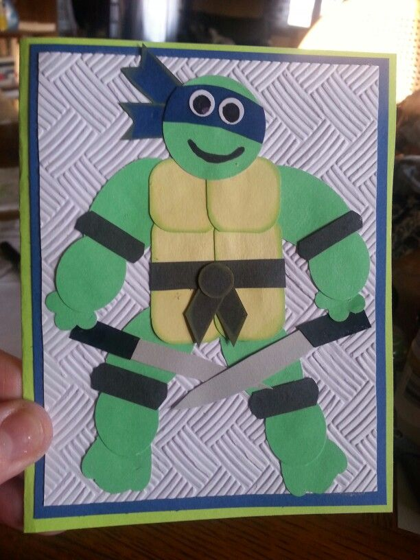 I Made This Teenage Mutant Ninja Turtle Birthday Card With Donetello On It For One Of My Teenage Mutant Ninja Turtle Birthday Ninja Turtle Birthday Punch Cards