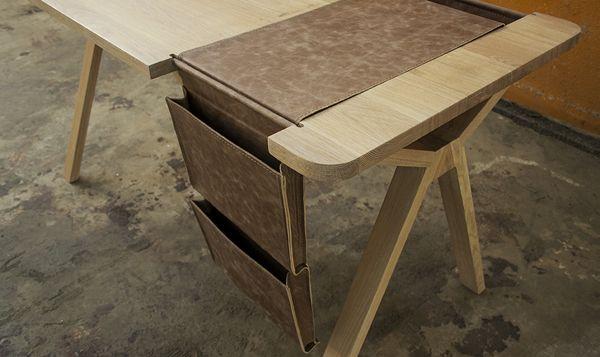though not a chair - interesting way to include organization  bolsa / desk / 2013 by studio gud, via Behance