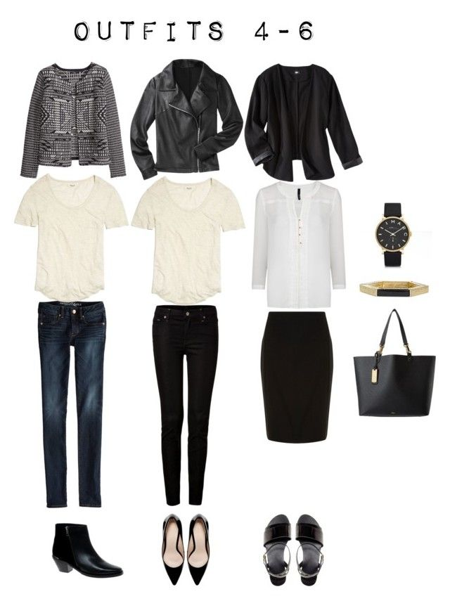 Outfits 4-6 from the 5 Item French Wardrobe by designismymuse on Polyvore featuring MANGO, Madewell, H&M, Mossimo, American Eagle Outfitters, 7 For All Mankind, Dorothy Perkins, ASOS, Zara and Lauren Ralph Lauren