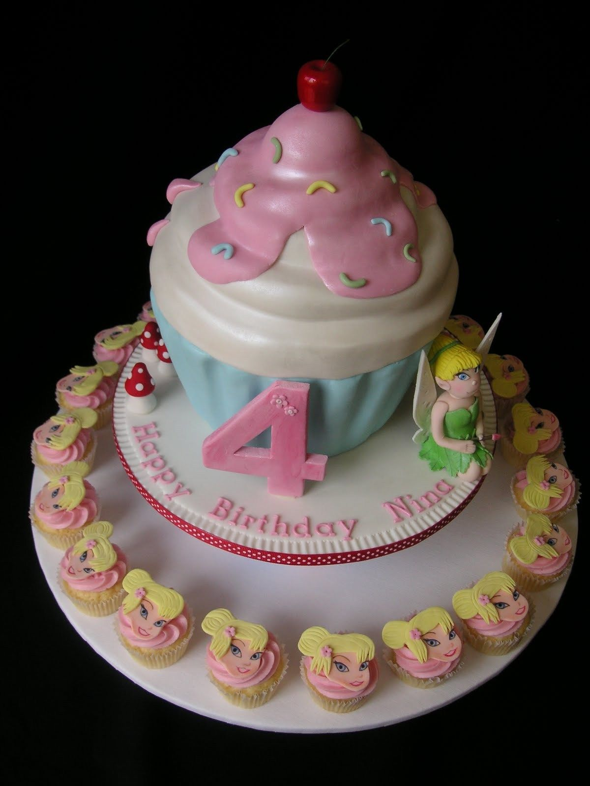 20 Wonderful Photo Of Cupcake Birthday Cakes Just Call Me Martha Tinkerbell Giant Cake