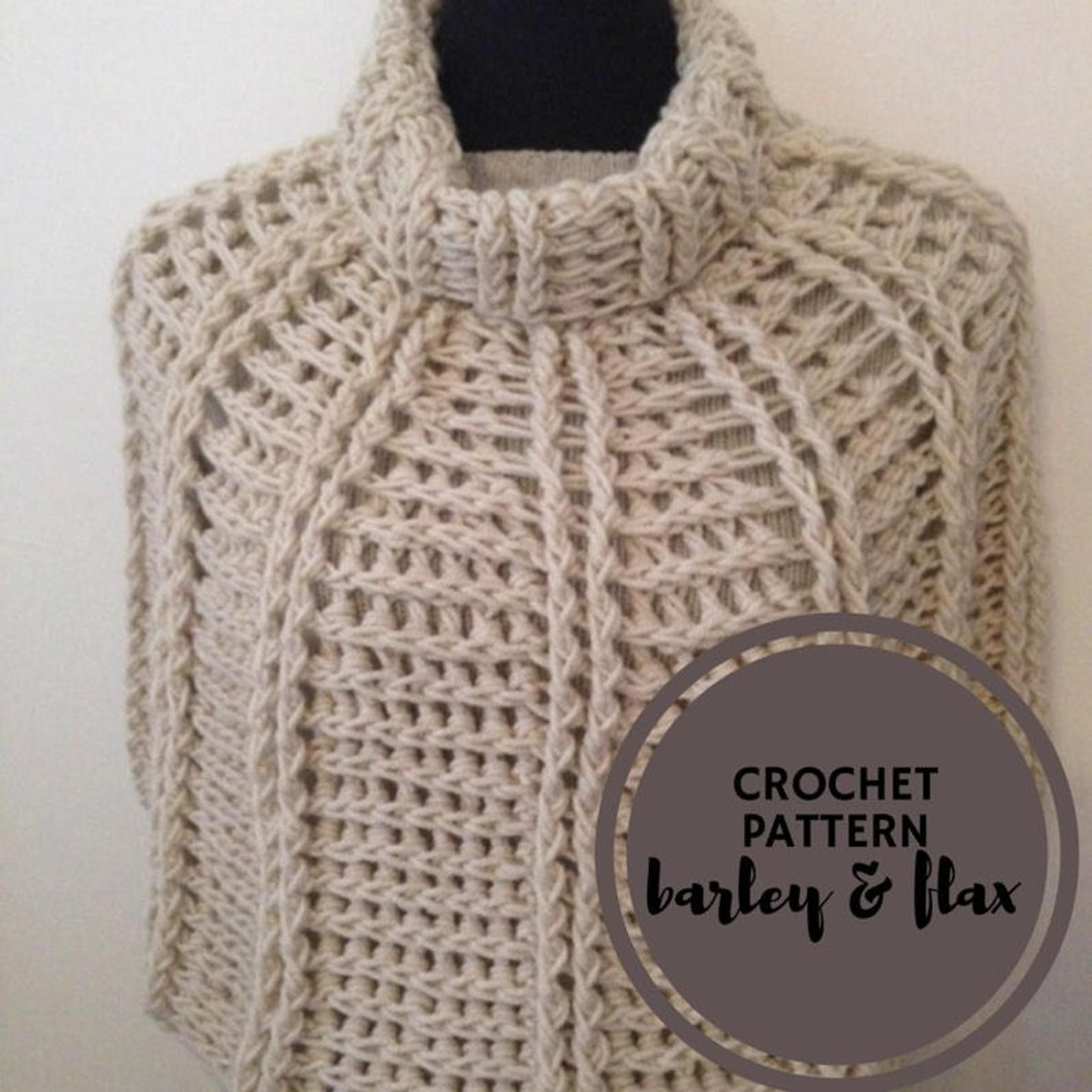 Photo of Crochet Poncho PDF Libby Reversible Capelet Cowl Neck Beginner's Cape Pattern Shawl Wrap Crochet Instructions Instant Download PATTERN