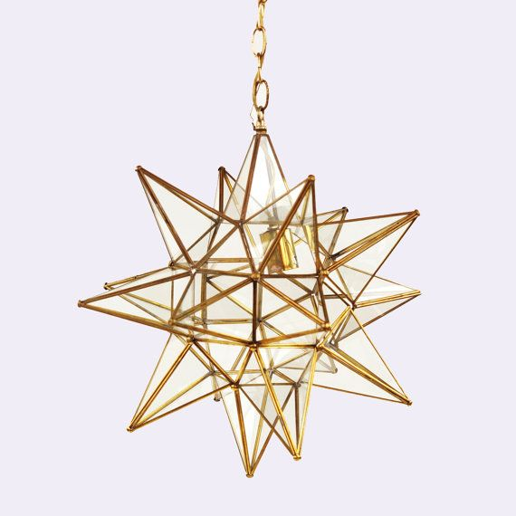 Vintage 1970s Gold Moravian Star Geometric Glass Hanging Pendant