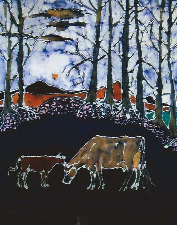 Jersey Cow and Calf Below Hills print from by amityfarmbatik