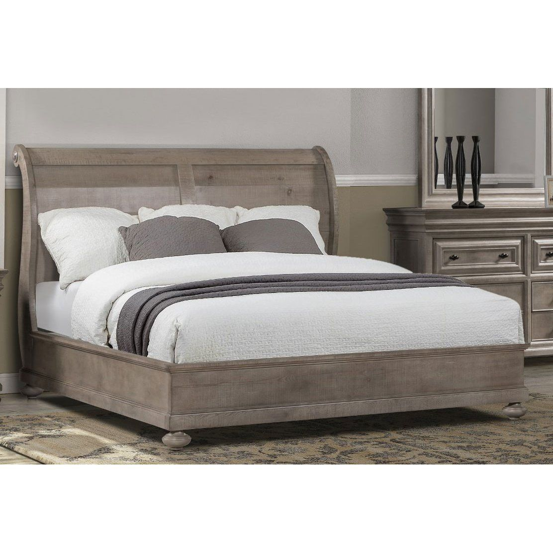 Classic Traditional Gray King Sleigh Bed Hudson Square King