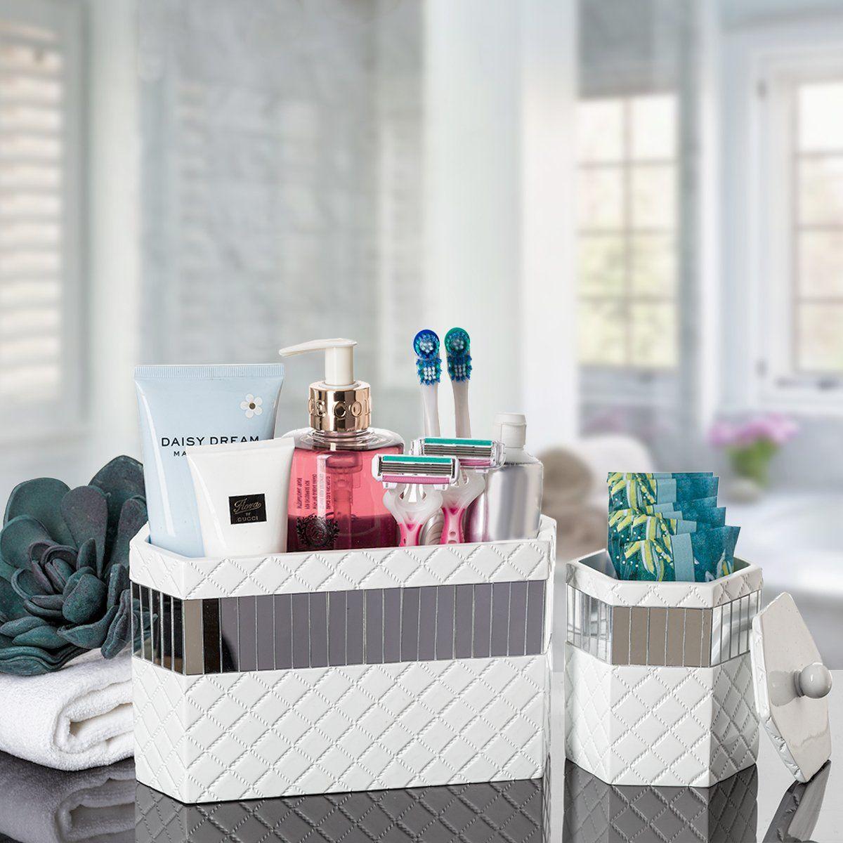 Makeup Brush Holder Quilted Mirror Bathroom Organizer Countertop Decorative Bathroom Hair Accessories Storage It Cosmetics Brushes Organize Bathroom Countertop