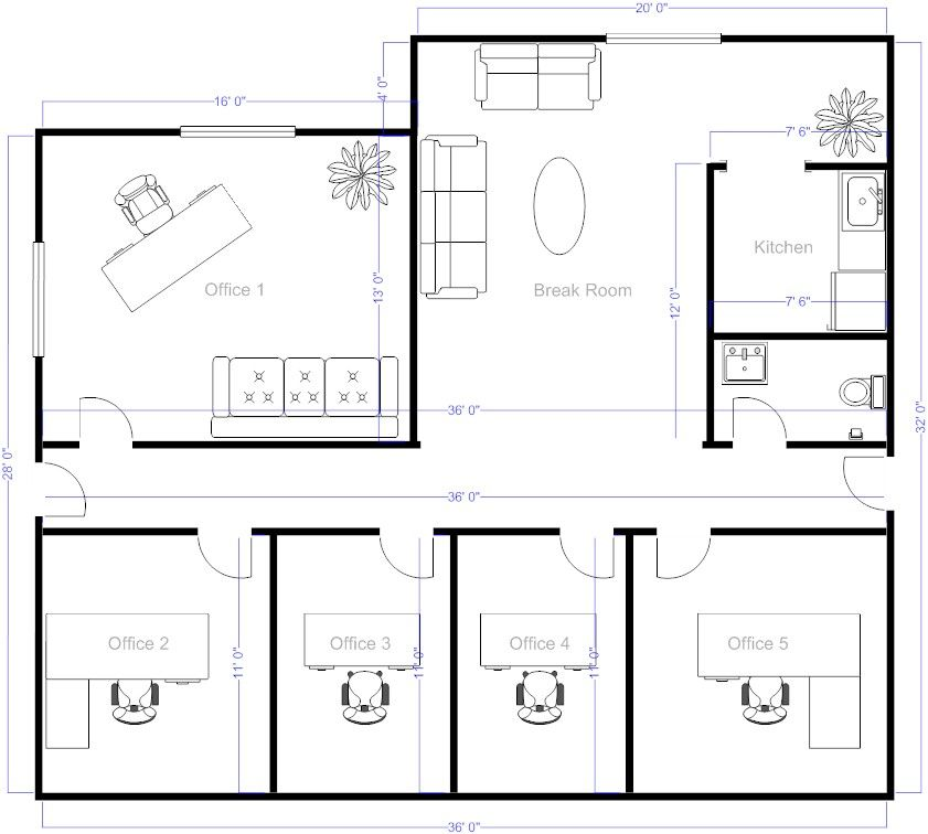 Simple floor plans on free office layout software with for Commercial building blueprints free
