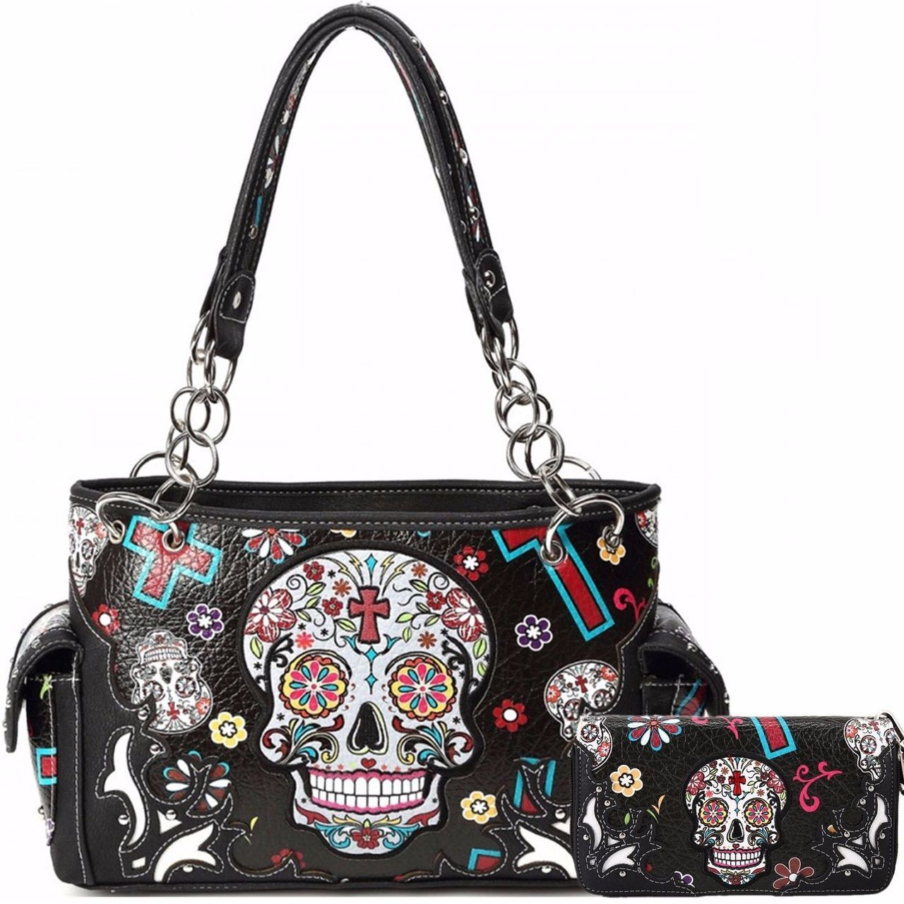 Black Oaxacan Style Sugar Skull Concealed Carry Purse W Matching Wallet