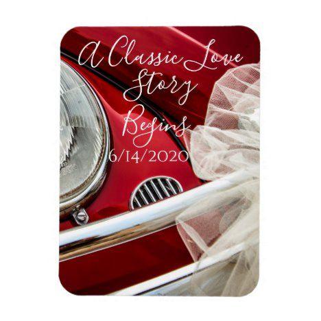 A classic car love story save the date magnet | Zazzle.com