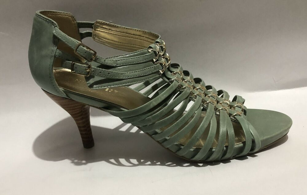 Ladies New Leather Ankle Strap Multi Straps Kitten Heel Shoes Size