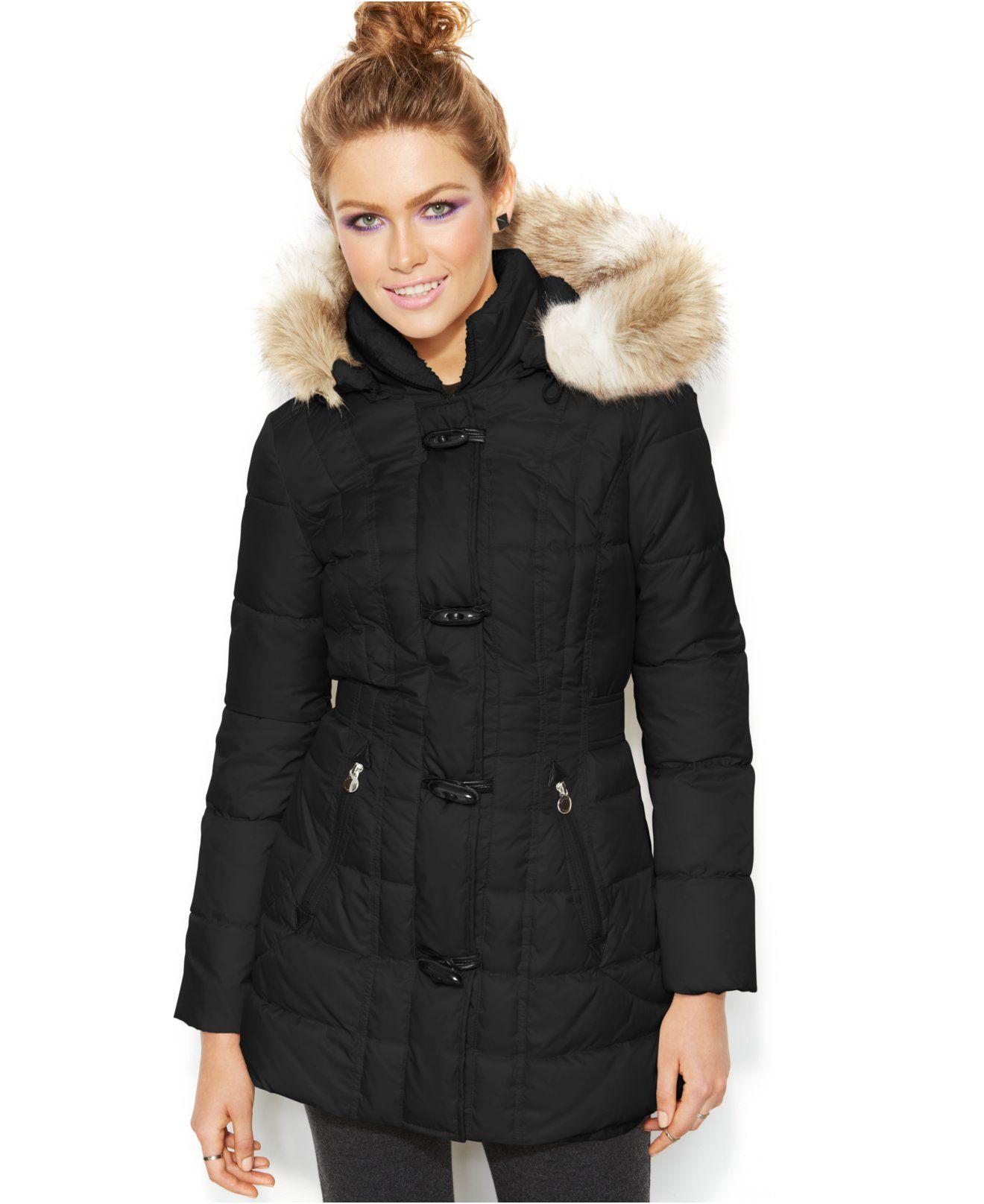 Laundry By Design Faux Fur Trim Hooded Toggle Puffer Coat Coats