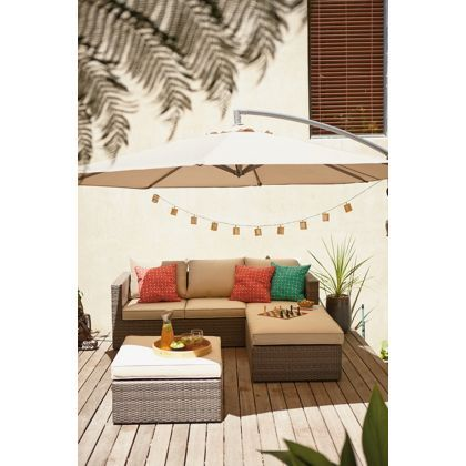 Mali Rattan Effect 3 Seater Garden Corner Sofa - Home Delivery ...