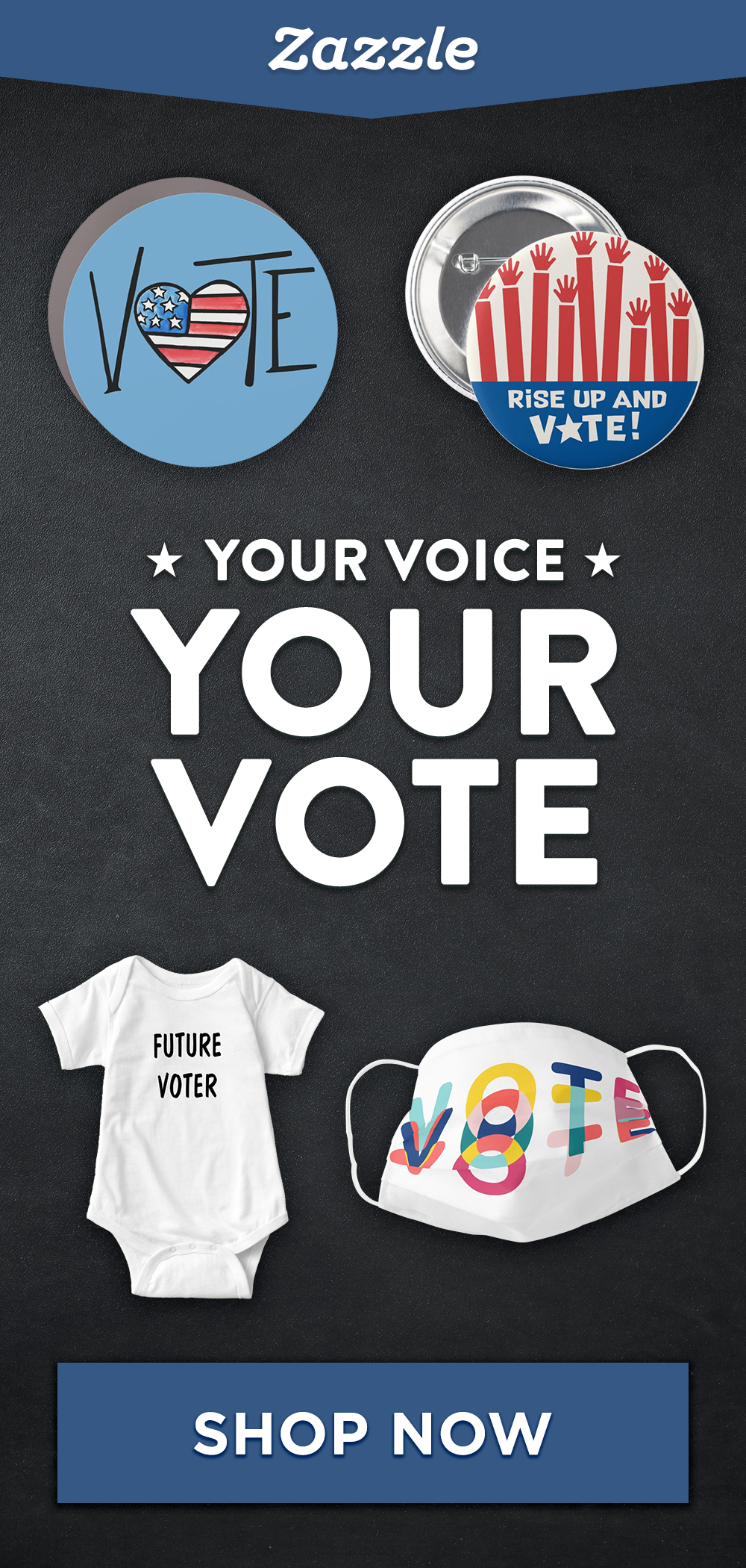 Get your election gear at Zazzle! Shop buttons, apparel, face masks and more to rock the vote or support either candidate.