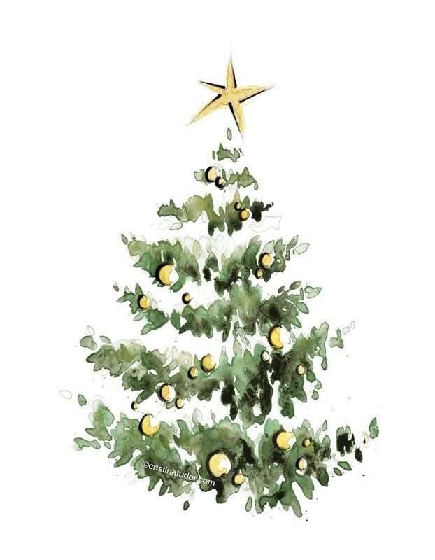 Christmas Tree Watercolor Christmas Tree Painting Christmas