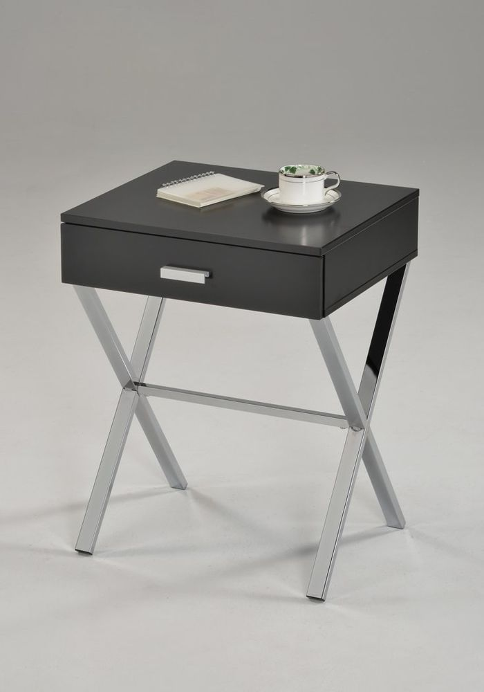 Nightstand End Table With Drawer Modern Bedroom Black Wood ...