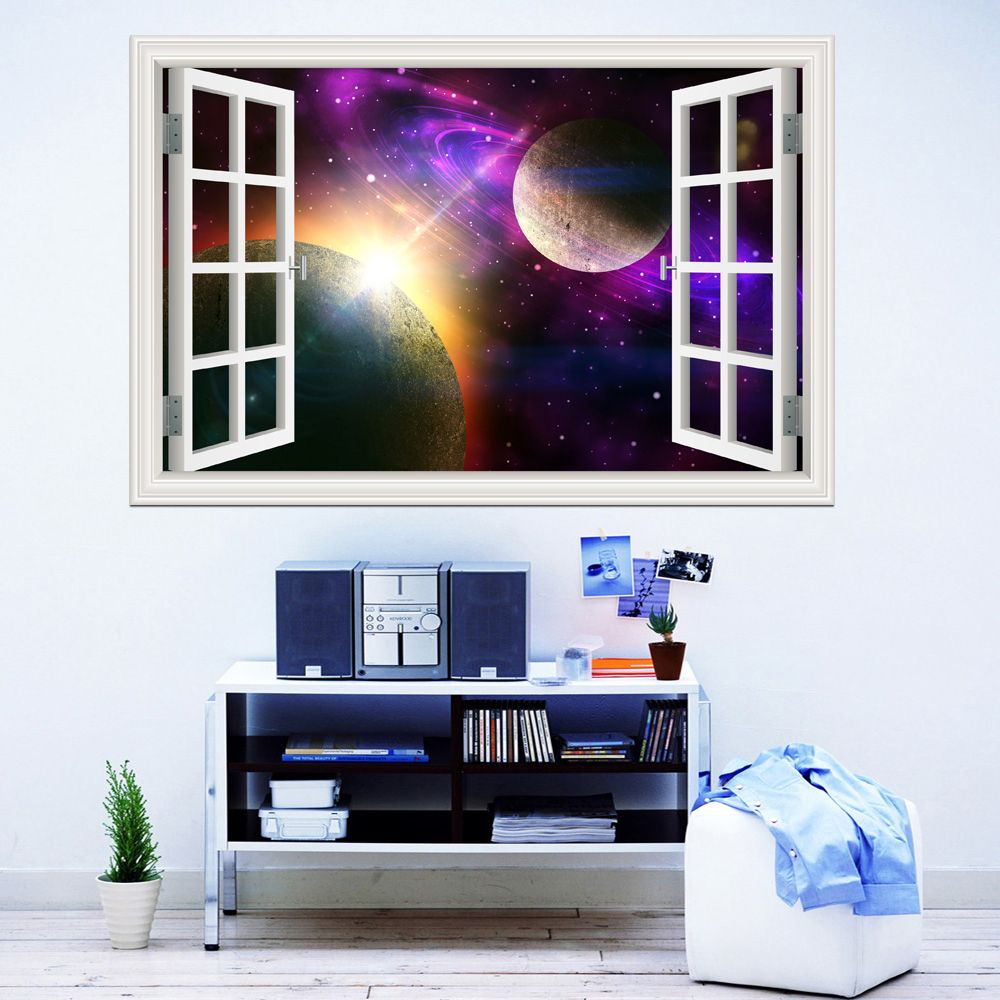 3D Window View Planet Galaxy Wall Sticker Removable Outer Space Wall Decals  Stickers Home Decor Living