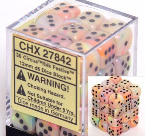 Chessex Dice D6 Sets Festive Circus With Black 12mm Six Sided Die 36 Block Of Dice Chessex So Pre Magic The Gathering Dungeons And Dragons Dice Festival
