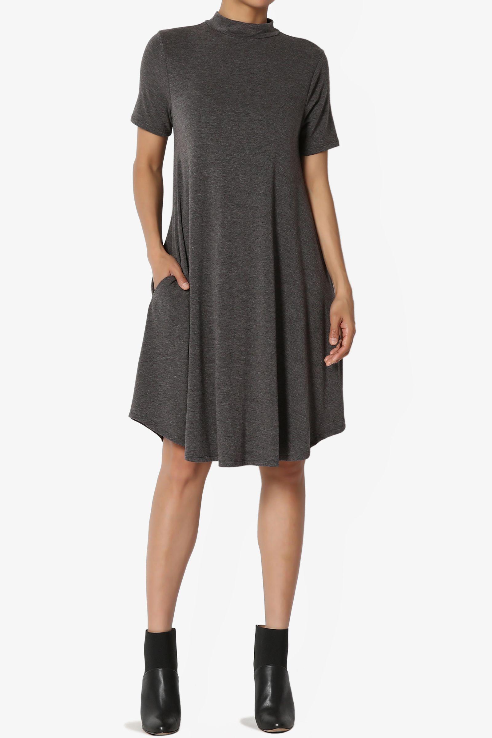 Themogan Themogan Women S Short Sleeve Mock Neck Jersey Fit Flare Midi Dress W Pocket Walmart Com Jersey Knit Dress Fit And Flared Dresses [ 2400 x 1600 Pixel ]