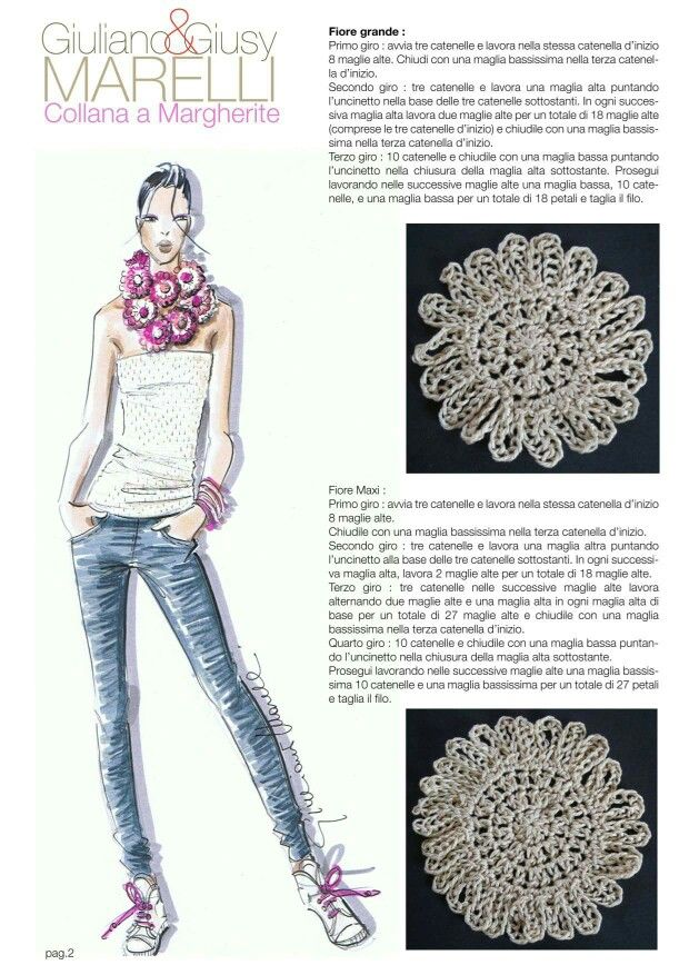 Collana margherite | Tejidos | Pinterest | Crochet bufanda, Ropa de ...