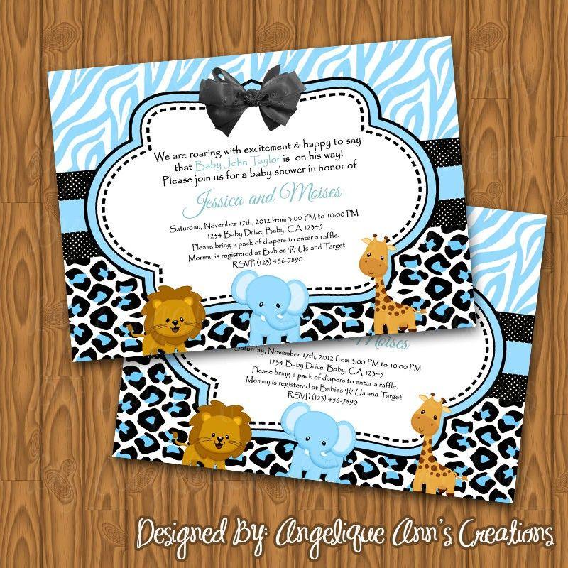 safari baby shower invitations for boy | Baby Shower Invitations ...