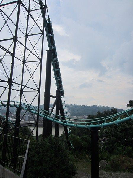 Awesome second drop into a gully on Phantom's Revenge, Kennywood, Pennsylvania