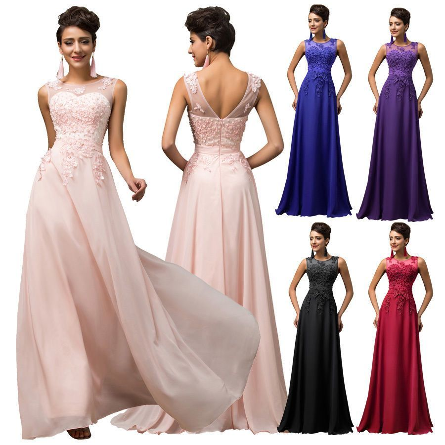 Plus size long chiffon evening cocktail party gown wedding
