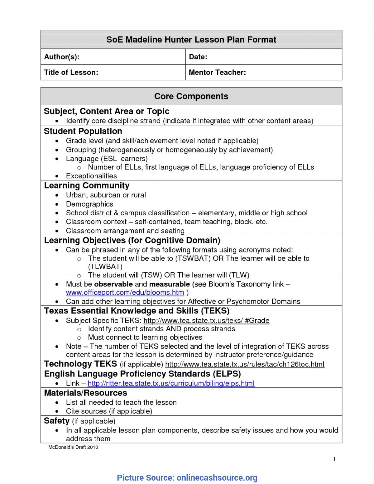 Madeline Hunter Lesson Plan Template Word Colona Rsd7 Intended For Madeline Hunter L Madeline Hunter Lesson Plan Lesson Plan Templates Printable Lesson Plans