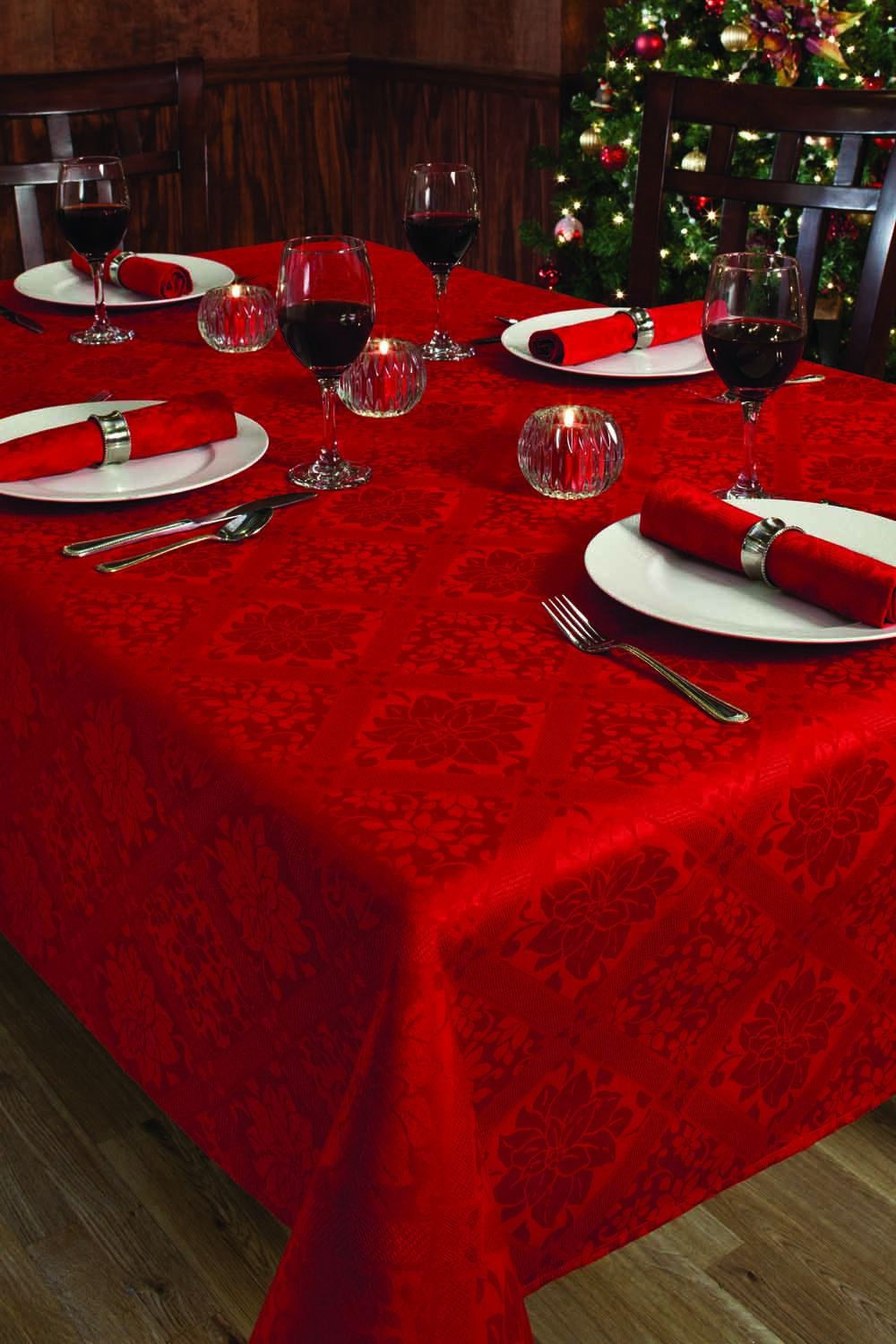Christmas Holiday Red Damask Poinsettia Diamond Table Cloth 60 X120 Christmas Decorations For The Home Christmas Dinner Table Holiday Decor Christmas