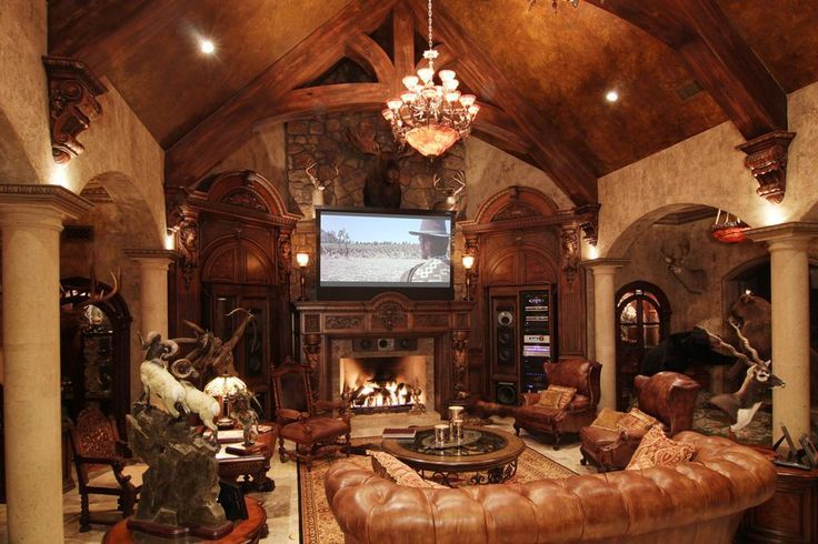 Trophy room combined with a theater room concept for Trophy room design