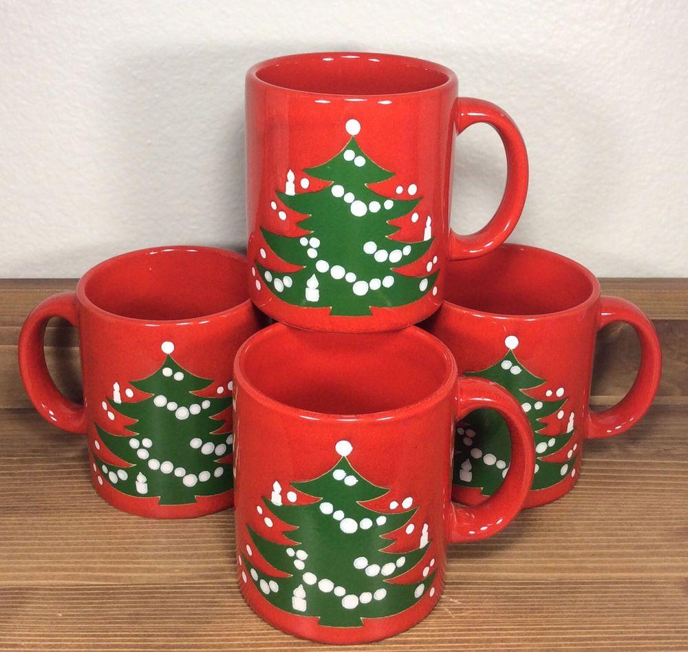 Vtg Waechtersbach Christmas Tree Mugs Set of 4 Original Design W. Germany Red #Waechtersbach & Vtg Waechtersbach Christmas Tree Mugs Set of 4 Original Design W ...