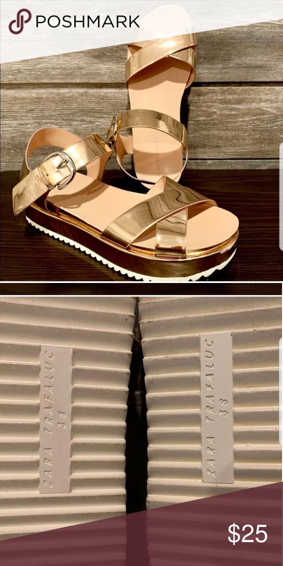 Zara Trafaluc rose gold sandals | Rose