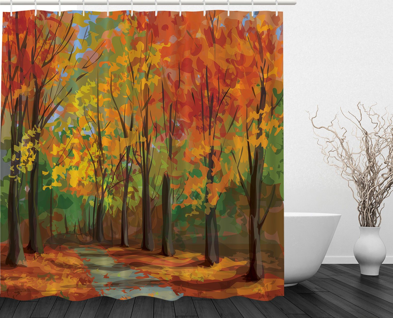 Elegant Fall Leaves Country Home Decor Seasonal Romantic Path Extra Long Shower  Curtain