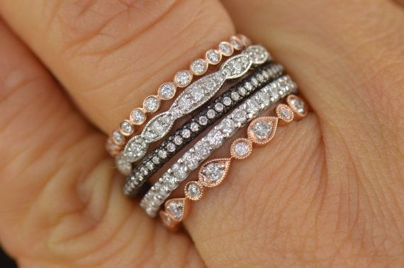 03442e804ef88 Diamond Stacking Bands, Five Stackable Diamond Bands in White ...