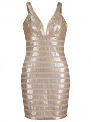 Bronze Gold Sequin Striped Strappy Deep V Cut Out Bodycon Mini Dress