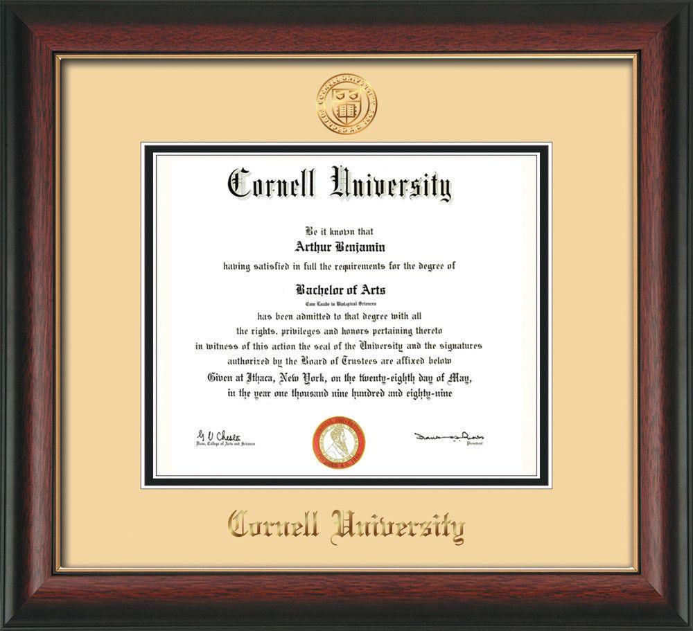 Cornell University Diploma Frame - Rosewood w/Gold Lip - w/Cornell ...